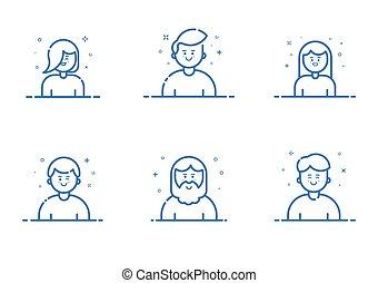 azul, apartamento, jogo, ilustração, vetorial, linha, style., ícone