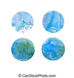 azul, aquarela, jogo, verde, manchas