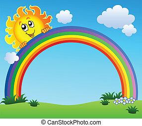 azul, arco íris, céu, segurando, sol