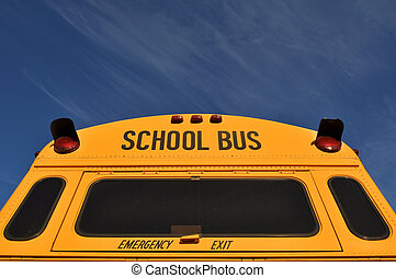 azul, autocarro, escola, céu, costas