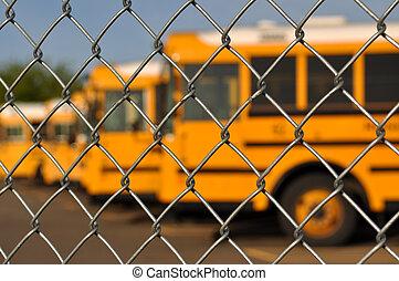 azul, autocarro, escola, múltiplo, céu