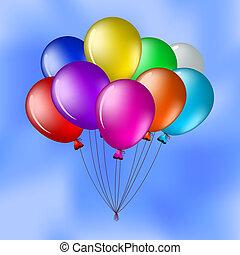 azul, balões, céu