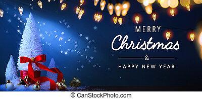 azul, bandeira, fundo, árvore, ou, saudação, luz, natal, experiência;, feriados, arte, cartão