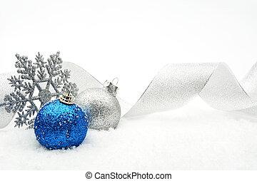 azul, baubles, neve, prata, natal, fita, resplendecer
