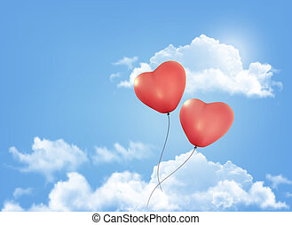 azul, bexigas, heart-shaped, céu, valentine, vetorial, fundo, clouds.