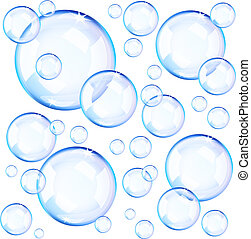 azul, bolhas, transparente, sabonetes