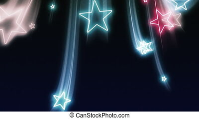 azul, branca, voando, estrelas, vermelho
