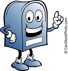 azul, caixa postal, ilustração