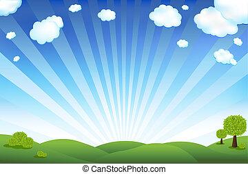 azul, campo, céu verde