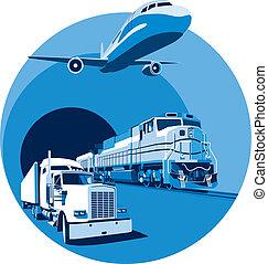 azul, carga, transporte