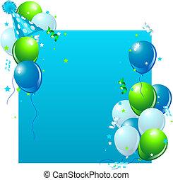 azul, cartão aniversário