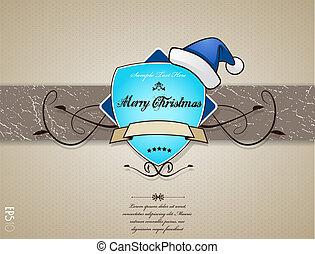azul, cartão natal, hat.
