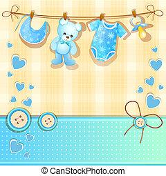 azul, chuva bebê, cartão