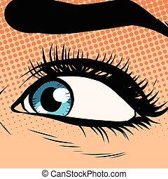 azul, close-up, olho mulher, olhar, esquerda