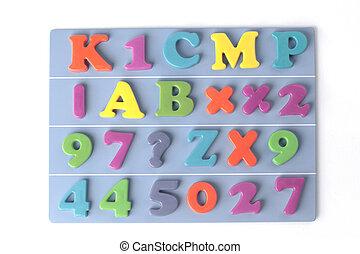 azul, colorido, alfabeto, magnético, plástico, fundo, inglês