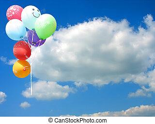 azul, colorido, texto, céu, contra, lugar, partido, balões, seu, vazio