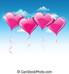 azul, coração amoldou, céu, sobre, ilustração, vetorial, balões