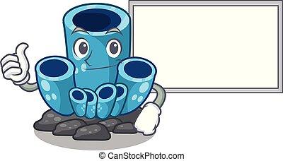 azul, coral, cima, esponja, forma, tábua, caricatura, polegares