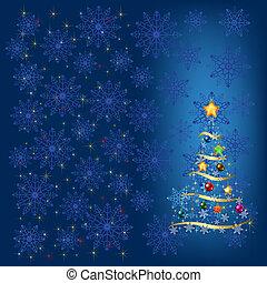 azul, decoração, árvore, snowflakes, natal