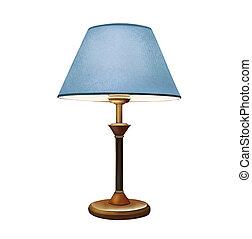 azul, decorativo, lamp., lampshade., lâmpada, mesa de cabeceira