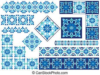 azul, desenho decorativo, elemento