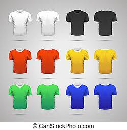 azul, diferente, jogo, comandos, isolado, realístico, cores, amarela, verde branco, pretas, branca, desporto, camisetas, vermelho