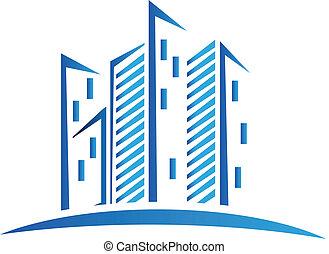 azul, edifícios, logotipo, modernos