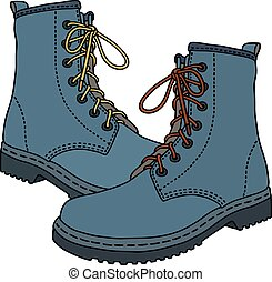 azul, engraçado, botas