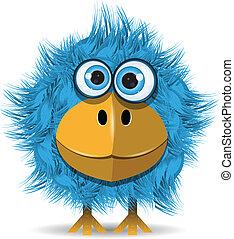 azul, engraçado, pássaro
