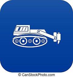 azul, escavador, hidráulico, digital, martele ícone