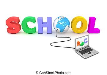 azul, escola, globo, -, wired, colorido