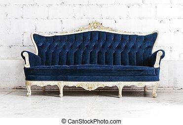azul, estilo, sala, clássico, vindima, sofá, sofá