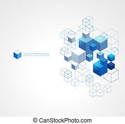 azul, experiência., abstratos, cubos