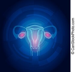 azul, femininas, abstratos, fundo, útero, tecnologia