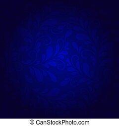 azul, floral, fundo, padrões