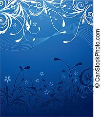 azul, floral, fundo