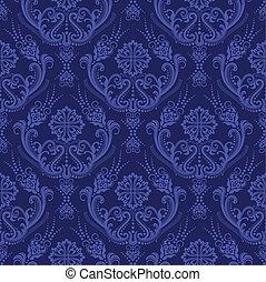 azul, floral, papel parede, luxo, damasco