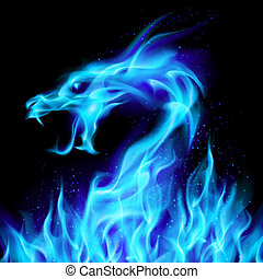 azul, fogo dragão
