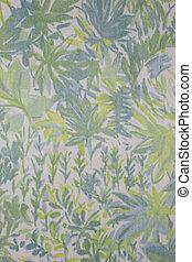 azul, folha, fundo, amarela, têxtil, ornamentos, verde