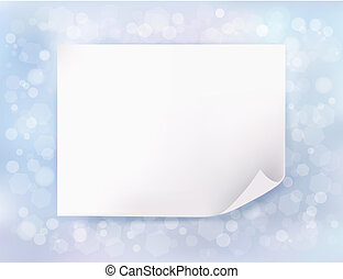 azul, folha, paper., ilustração, vetorial, fundo, feriado, natal