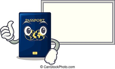 azul, forma, cima, tábua, passaporte, caricatura, polegares