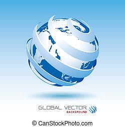 azul, global, vetorial, fundo