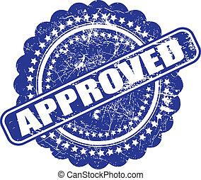 azul, gráfico, grunge, check), este, contém, ilustração, experiência., vetorial, approval(quality, tinta, branca, feito, selo