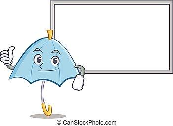 azul, guarda-chuva, personagem, cima, tábua, caricatura, polegares