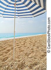 azul, guarda-chuva, sol, aderido, mar, praia seixo