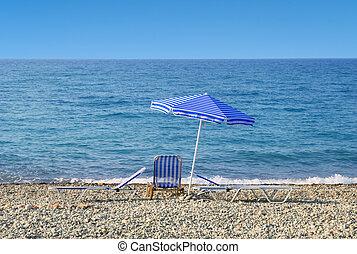 azul, guarda-chuva, sol, céu, sunbeds, orla marítima
