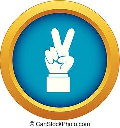 azul, isolado, mão, vetorial, sinal vitória, ícone