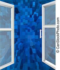 azul, janela, abstração, aberta