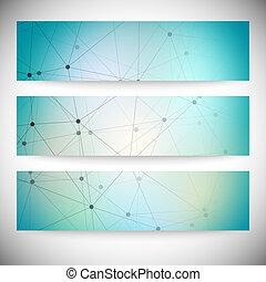 azul, jogo, abstratos, ilustração, banners., vetorial, fundo, horizontais