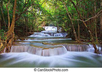 azul, kanjanaburi, cachoeira, fluxo, tailandia, floresta